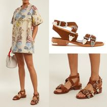 TOGA Open Toe Casual Style Suede Plain Sandals Sandals