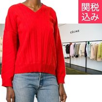 BALENCIAGA Casual Style Wool V-Neck Long Sleeves Plain Oversized
