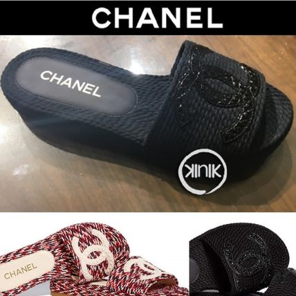 af283d08380c CHANEL 2018 SS 18SS CHANEL CORD SLIDE SANDALS CC LOGO by KinkinNY - BUYMA