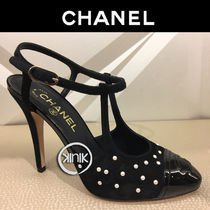 CHANEL Round Toe Suede Plain Elegant Style High Heel Pumps & Mules
