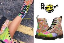 Dr Martens Round Toe Casual Style Street Style Leather Block Heels