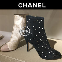 CHANEL Plain Elegant Style Ankle & Booties Boots