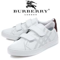 Burberry Other Check Patterns Street Style Leather Sneakers