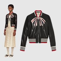 GUCCI Short Plain Leather MA-1 Bomber Jackets