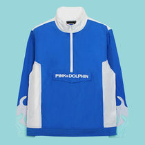 Pink Dolphin Pullovers Unisex Nylon Street Style Long Sleeves Plain Tops