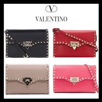 VALENTINO Casual Style Plain Leather Shoulder Bags