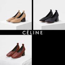 CELINE Round Toe Casual Style Plain Leather Block Heels