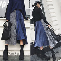 Stripes Casual Style Pleated Skirts Plain Long Maxi Skirts