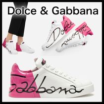 Dolce & Gabbana Round Toe Casual Style Enamel Low-Top Sneakers