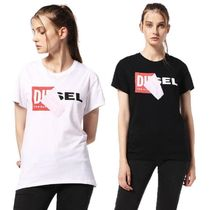 DIESEL Crew Neck Casual Style Plain Cotton Medium Short Sleeves