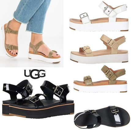 Open Toe Platform Casual Style Plain Leather Footbed Sandals
