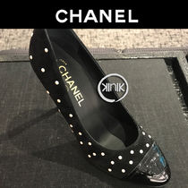 CHANEL Plain Toe Suede Plain Elegant Style High Heel Pumps & Mules
