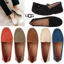 UGG Australia Plain Toe Moccasin Rubber Sole Casual Style Suede Plain