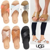 UGG Australia Open Toe Platform Casual Style Bi-color Plain Leather