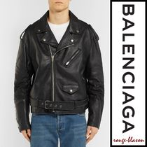 BALENCIAGA Short Street Style Plain Leather Biker Jackets