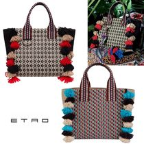 ETRO Other Check Patterns Casual Style A4 Fringes Totes