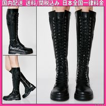 DOLLS KILL Flower Patterns Round Toe Lace-up Casual Style Faux Fur
