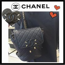 CHANEL ICON Casual Style Unisex Calfskin Plain Backpacks