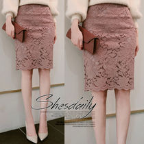 Pencil Skirts Flower Patterns Medium Lace Office Style