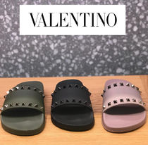 VALENTINO Open Toe Rubber Sole Casual Style Blended Fabrics Studded
