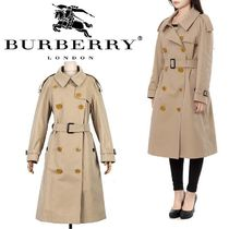 Burberry Glen Patterns Plain Long Trench Coats