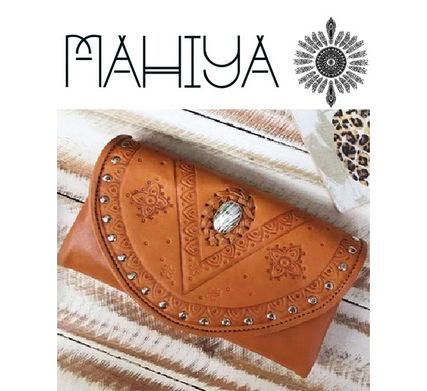 Studded Street Style Leather Handmade Long Wallets