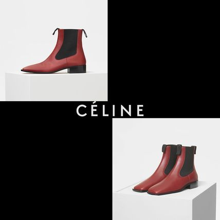 Square Toe Casual Style Plain Leather Ankle & Booties Boots