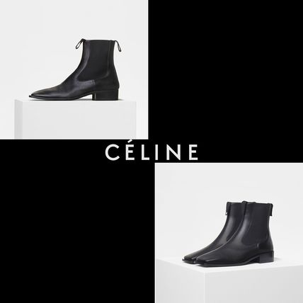 Square Toe Plain Leather Elegant Style Ankle & Booties Boots