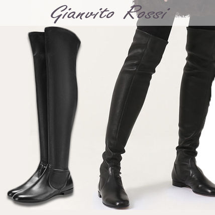 Plain Toe Casual Style Plain Leather Over-the-Knee Boots
