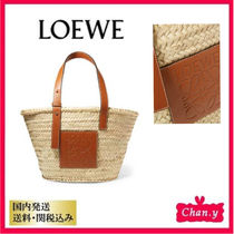 LOEWE Casual Style Plain Leather Home Party Ideas Straw Bags