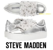 Steve Madden Round Toe Casual Style Street Style Plain Leather Sandals