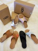 UGG Australia Casual Style Plain Leather Footbed Sandals Flat Sandals