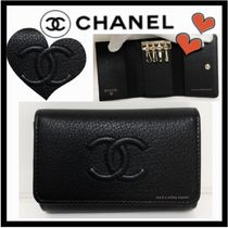 CHANEL ICON Unisex Plain Leather Keychains & Bag Charms