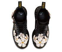 Dr Martens Flower Patterns Round Toe Lace-up Leather Elegant Style