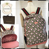 GUCCI Flower Patterns Casual Style Cambus Backpacks