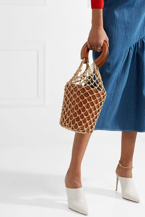 4684d7ae91ae1 STAUD 2018 SS Blended Fabrics Plain Leather Straw Bags by cubbyy13 ...