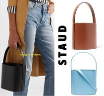 STAUD Casual Style 2WAY Plain Leather Totes