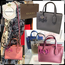 GUCCI 2WAY Plain Leather Party Style Handbags