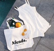 AFENDS Unisex Canvas Street Style A4 Plain Oversized Shoppers