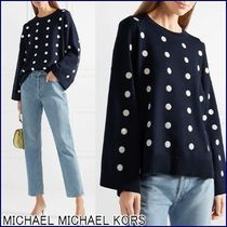Michael Kors Crew Neck Dots Casual Style Blended Fabrics Long Sleeves