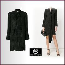 Michael Kors Short Dots Long Sleeves Elegant Style Dresses