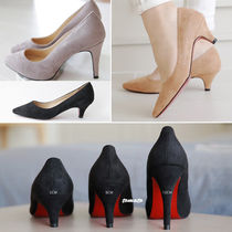 Suede Plain Pin Heels Office Style Pointed Toe Pumps & Mules