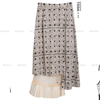 Dots Blended Fabrics Long Maxi Skirts