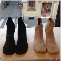 CELINE Round Toe Pin Heels Elegant Style Ankle & Booties Boots