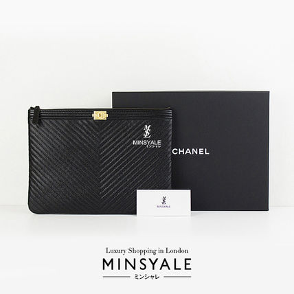 e8328055152f ... CHANEL Pouches & Cosmetic Bags BOY CHEVRON POUCH MEDIUM [London  department store new item] ...