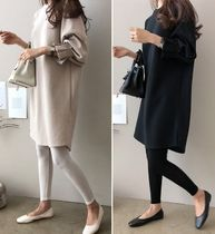 U-Neck Cotton Medium Elegant Style Puff Sleeves Dresses