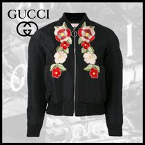 GUCCI Flower Patterns Casual Style Medium Varsity Jackets