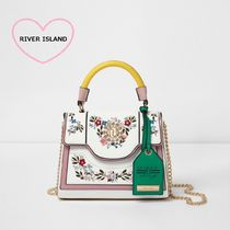 River Island Flower Patterns Faux Fur Chain Elegant Style Totes