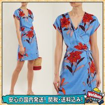 DIANE von FURSTENBERG Wrap Dresses Short Flower Patterns Casual Style Silk V-Neck