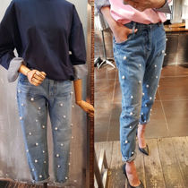 Casual Style Denim Blended Fabrics Street Style Plain Long